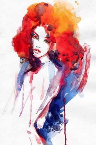 Woman . Hand Painted Fashion Illustration Art Print