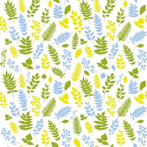 Pattern with Blue, Green and Yellow Leaves Stampa artistica