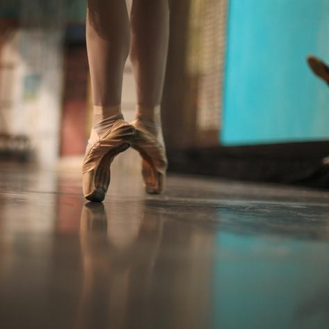 Ballerina Standing in Ballet Shoes Photographic Print
