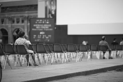 Few People at Open-Air Cinema Hall Waiting for a Movie Photographic Print