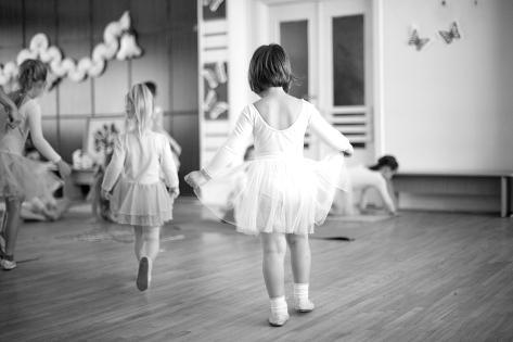 First Steps of Small Ballerinas; Monochrome Photographic Print