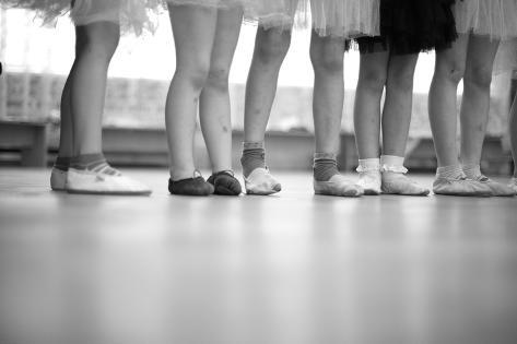 Little Ballerinas Legs Standing in a Row; Monochrome Photographic Print