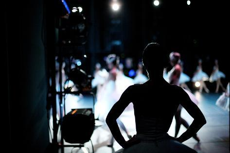 Silhouette of Ballerina on Background of Ballet Performance, Backstage Photographic Print
