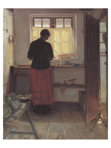 Girl in the Kitchen Lámina giclée prémium