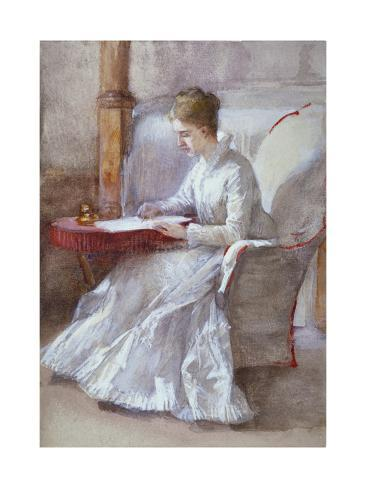 A Woman in White Writing at a Desk, C1864-1930 Giclee Print