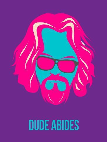 Dude Abides Purple Poster Targa di plastica