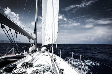 Luxury Sail Boat in the Sea at Evening, Extreme Water Sport, Yacht in Action, Summer Transport, Tri Photographic Print