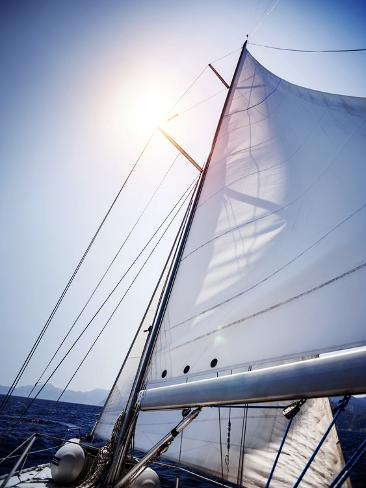 Sail of the Yacht Fluttering in the Wind, Summer Adventure, Sea Cruise on Sailboat, Yachting Sport, Photographic Print