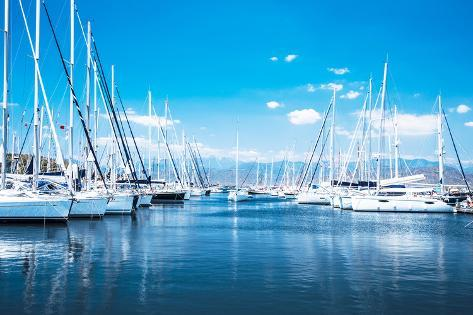 Sailboat Harbor, Many Beautiful Moored Sail Yachts in the Sea Port, Modern Water Transport, Summert Photographic Print
