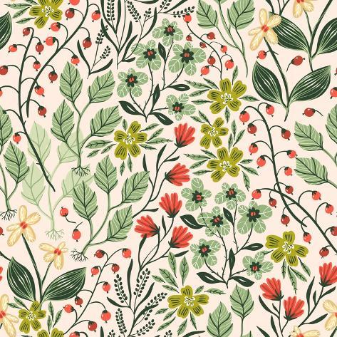 Floral Pattern with Colorful Summer Plants and Flowers Stampa artistica