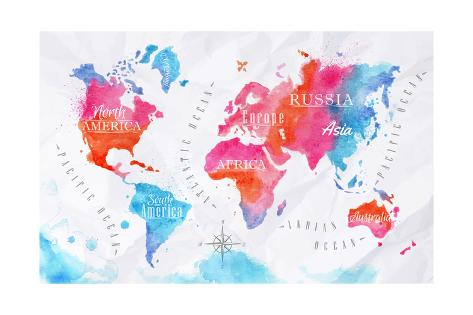 Watercolor world map pink blue pster por anna42f en allposters watercolor world map pink blue lmina gumiabroncs Image collections