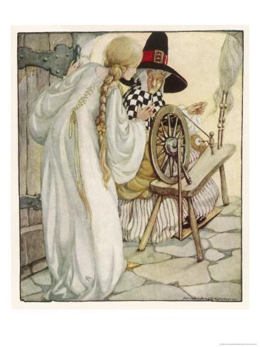 The Witch Shows Sleeping Beauty the Spinning Wheel Giclee Print