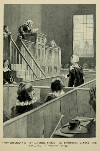 Anne Hutchinson, on Trial for Her Variance with Puritan Theology, 1630s Lámina