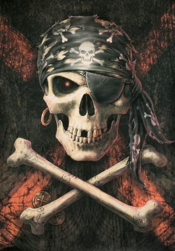 Anne Stokes - Pirate Skull Fabric Poster
