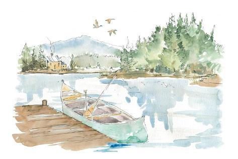 Lakehouse I on White Art Print