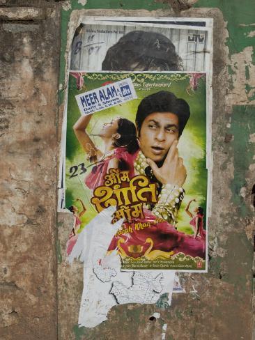 Shahruk Khan in Torn Bollywood Movie Poster on Wall, Hospet, Karnataka, India, Asia Photographic Print