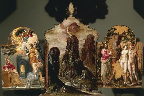 Annunciation, Vision of Mount Sinai, God Warning Adam and Eve Lámina giclée