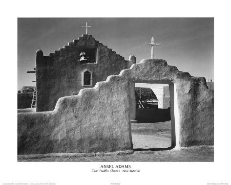 Ansel Adams Taos Pueblo Church New Mexico Photo Art Print Poster Mini Poster