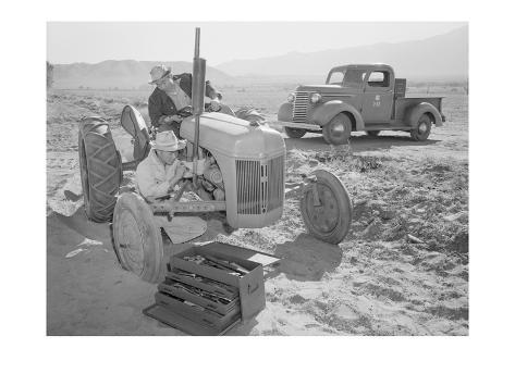 Tractor Repair: Driver Benji Iguchi, Mechanic Henry Hanawa, Art Print