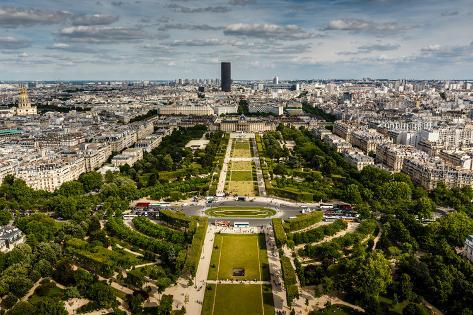 Aerial View on Champ De Mars from the Eiffel Tower, Paris, France Photographic Print