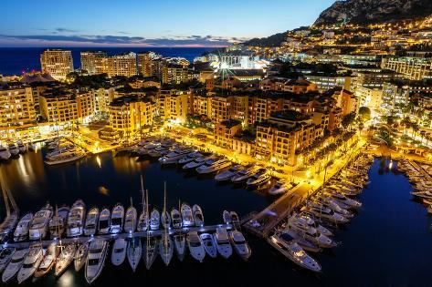 Aerial View on Fontvieille and Monaco Harbor with Luxury Yachts, French Riviera Photographic Print