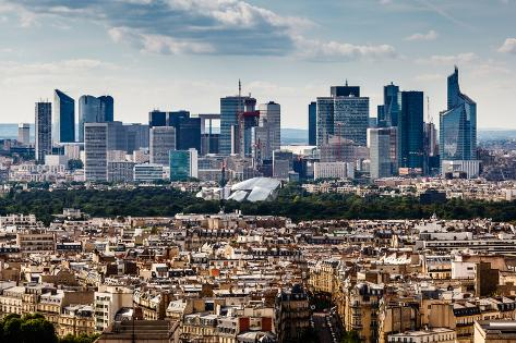 Aerial View on La Defense and its Scyscrapers in Paris, France Photographic Print