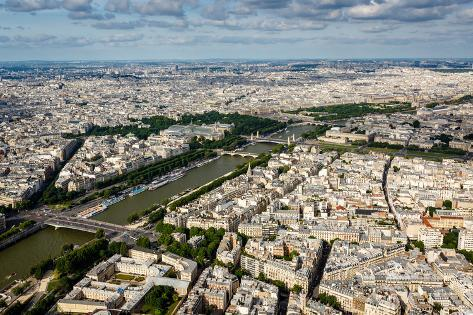 Aerial View on River Seine from the Eiffel Tower, Paris, France Photographic Print