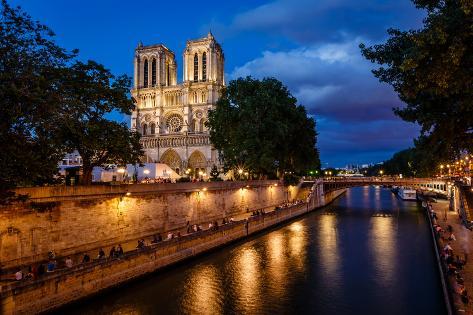 Notre Dame De Paris Cathedral and Seine River in the Evening, Paris, France Photographic Print
