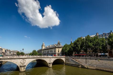 River Seine and Saint-Michel Bridge in Paris, France Photographic Print