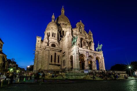 Sacre Coeur Cathedral on Montmartre Hill at Dusk, Paris, France Photographic Print