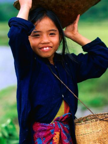 Portrait of Girl Balancing Basket of Herbs, Muang Ngoy, Laos Photographic Print