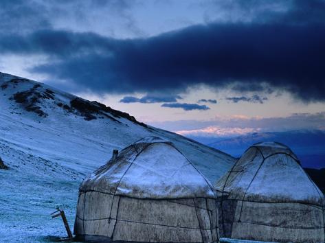 Yurts at Dawn, Kyrgyzstan Photographic Print