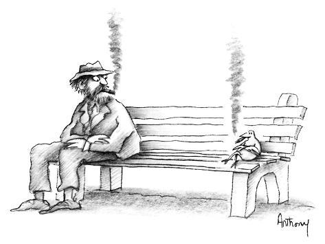 Pleasant Hobo On Park Bench Sees Bird Smoking The Same Kind Of Cigar He Is New Yorker Cartoon Squirreltailoven Fun Painted Chair Ideas Images Squirreltailovenorg