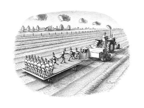 Tactor turning out replicas of the farmer/scarecrow. - New Yorker Cartoon Premium Giclee Print