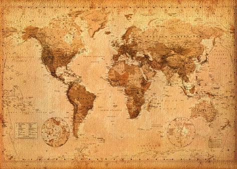 Antik världskarta, engelska Jättestor poster