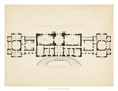 Antique building plan iii giclee print for Construction plan printing