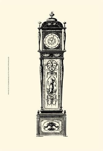 Antique Grandfather Clock I Art Print