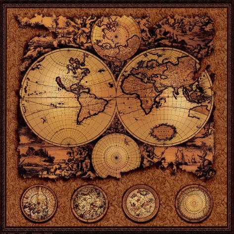 Antique Map, Cartographica III Art Print