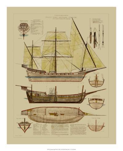 Antique Ship Plan II Giclee Print
