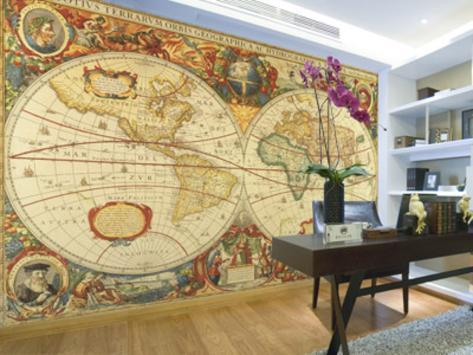 Antique world map giant wall mural poster wallpaper mural antique world map giant wall mural poster gumiabroncs Gallery
