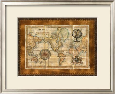 Antique World Map Framed Art Print
