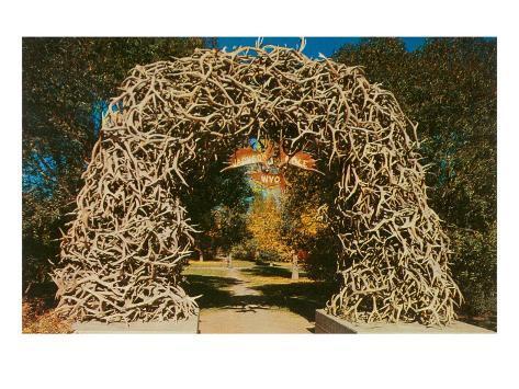 Antler Arch into Jackson Hole, Wyoming Art Print
