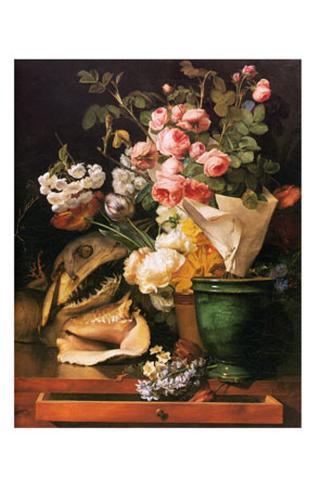 Roses et Autres Fleurs, Coquillages, Tete de Requin et Petrifications, c.1819 Framed Art Print