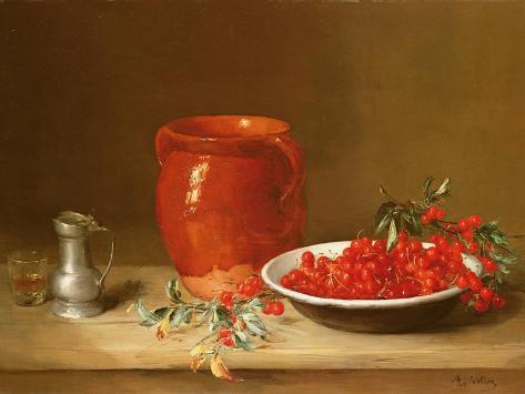 Still Life of Cherries in a Bowl Lámina giclée