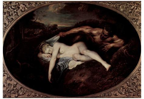 Antoine Watteau (Jupiter and Antiope (Satyr and Sleeping Nymph), Oval) Art Poster Print Poster