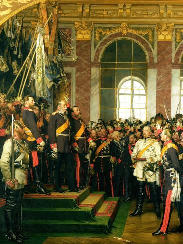 The Proclamation of Wilhelm as Kaiser of the New German Reich, in the Hall of Mirrors at Versailles Lámina giclée