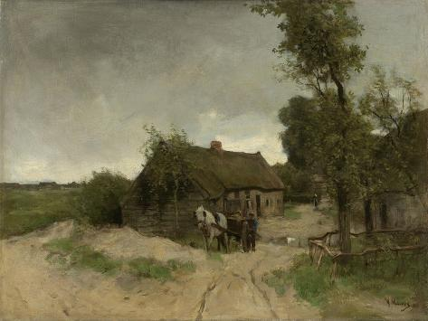 A House with Barn on a Dirt Road on the Moor Art Print