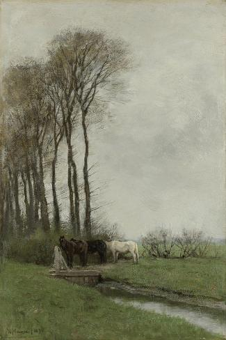 Landscape with Horses and a Well Art Print