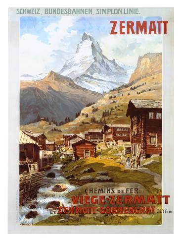 Swiss Alps, Zermatt Matterhorn Giclee Print