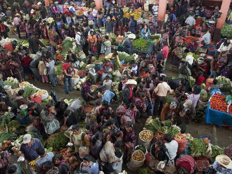 Inside Food Market, Chichicastenango Market, Chichicastenango, Guatemala, Central America Photographic Print